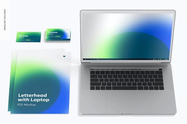 Letterhead with laptop mockup