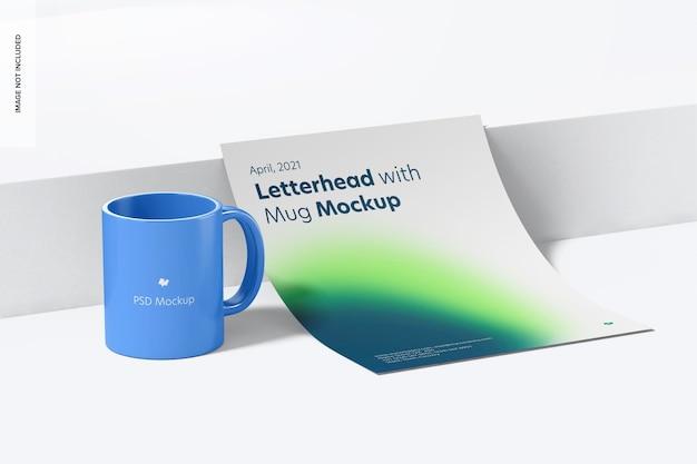 マグカップのモックアップ付きレターヘッド