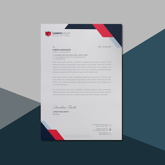 Letterhead with red and dark accents