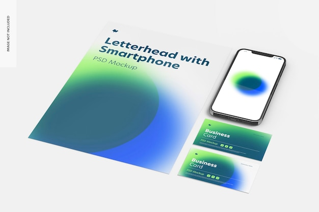 スマートフォンのモックアップ付きレターヘッド、展望