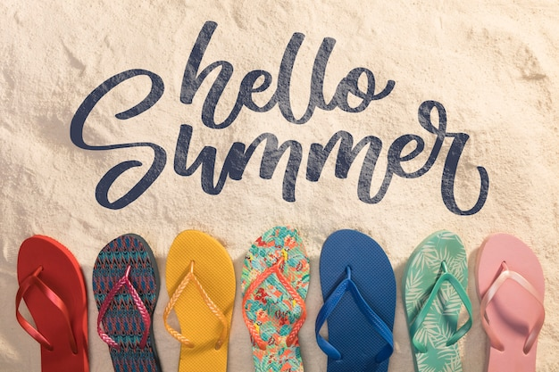 Lettering summer background with beach elements