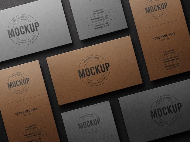 Макет роскошного логотипа высокой печати на визитной карточке