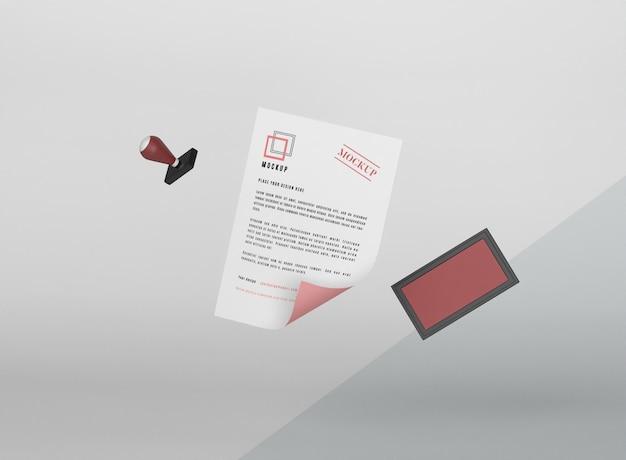 Levitating paper mockup and stamp