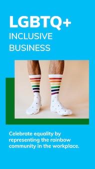 Lgbtq+ modello di business inclusivo psd storia dei social media celebrazione del mese dell'orgoglio gay