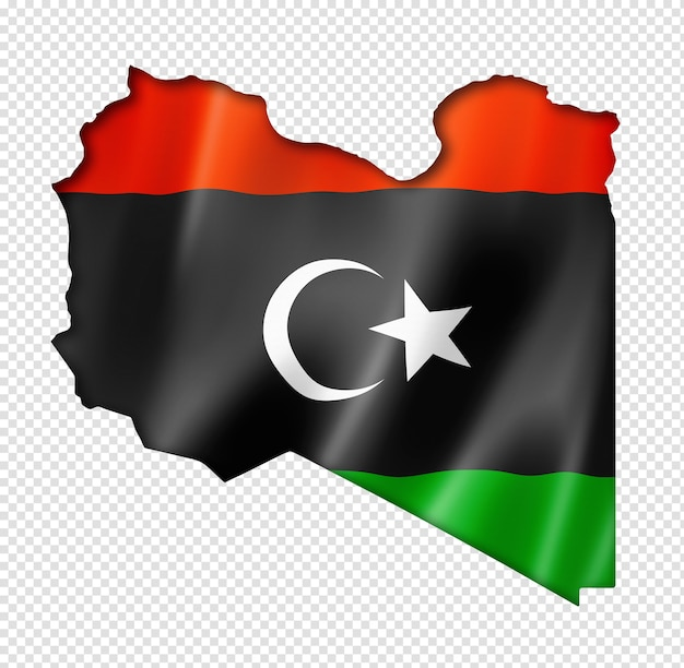 Libya flag map, three dimensional render, isolated on white