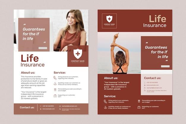 Страхование жизни шаблон psd с редактируемым текстовым набором