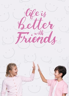 Life is better with friends boy and girl mock-up