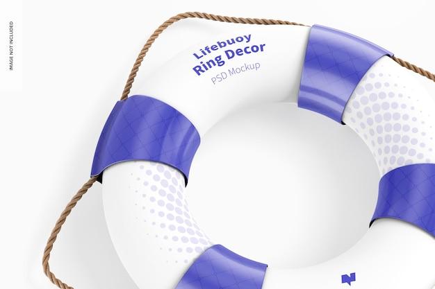 Мокап декора кольца спасательного круга, крупным планом