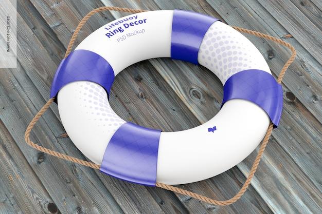 Lifebuoy ring decor mockup, perspective