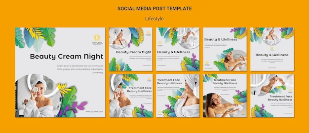 Lifestyle concept social media post template