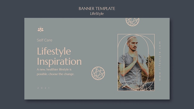 Lifestyle inspiration banner template with photo