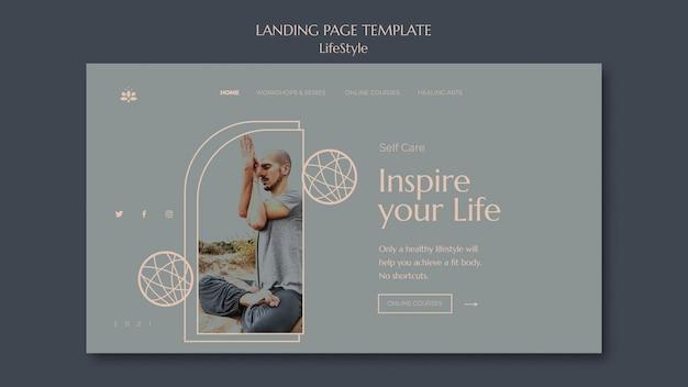 写真付きのライフスタイルのインスピレーションのランディングページテンプレート