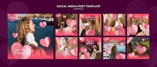 라이프 스타일 인스타 소셜 미디어 포스트 템플릿 디자인
