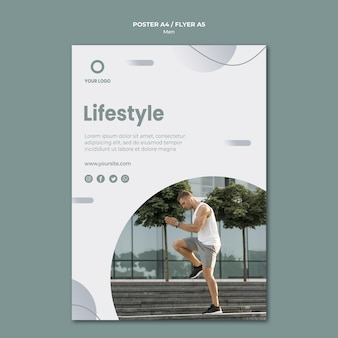 Lifestyle and man being sporty poster template