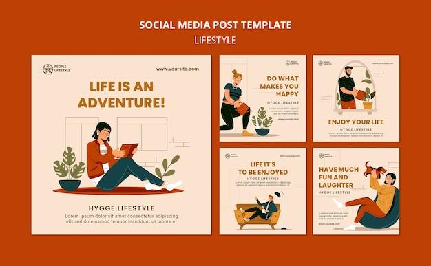 Посты в социальных сетях о стиле жизни Premium Psd