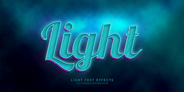 Light 3d text style effect calligraphy
