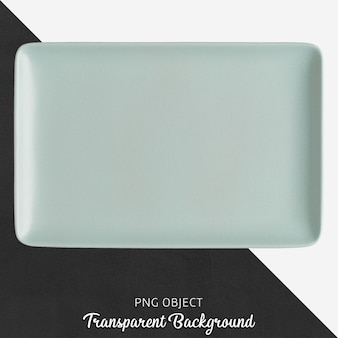 Light blue ceramic rectangle plate on transparent background