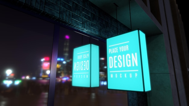 Light blue night business sign mock-up