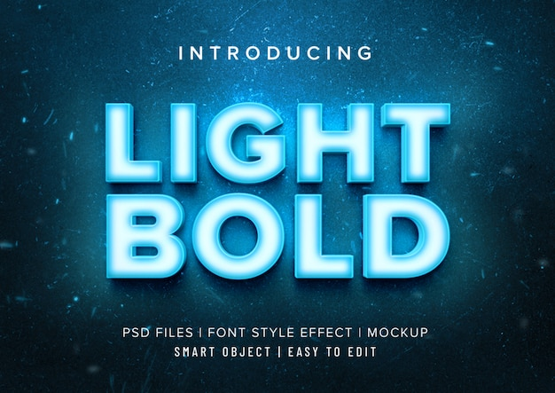 Light bold neon font style effect mockup