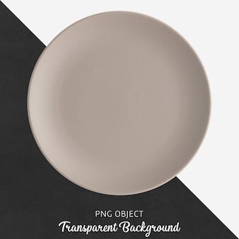 Светло-коричневая круглая керамическая тарелка на прозрачном фоне