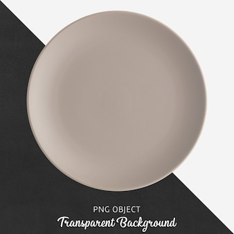 Light brown round ceramic plate on transparent background