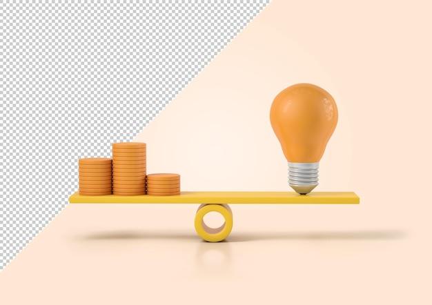 Лампочка со стопкой монет на шкале, макет