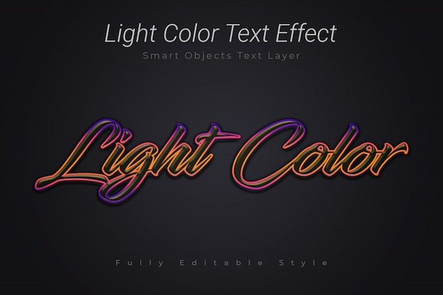 Light color text effect
