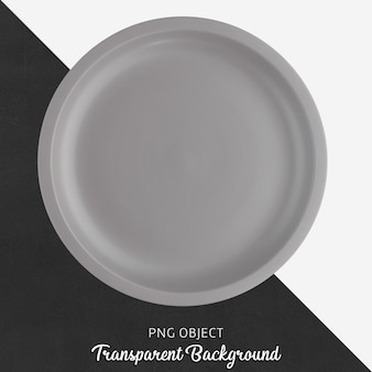 Light gray round ceramic plate on transparent background