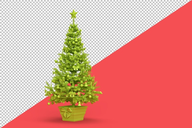 Light green decorated christmas tree isolated