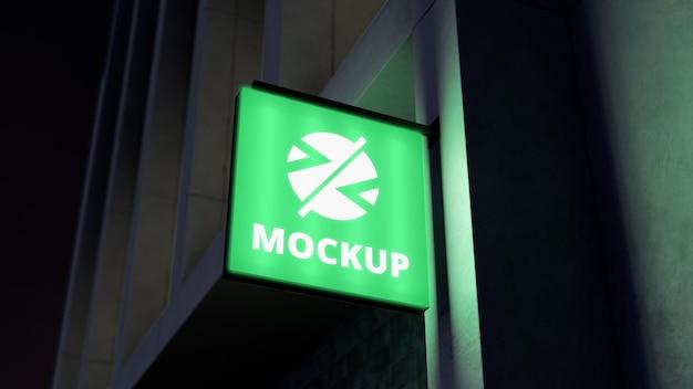 Light green night business sign mock-up