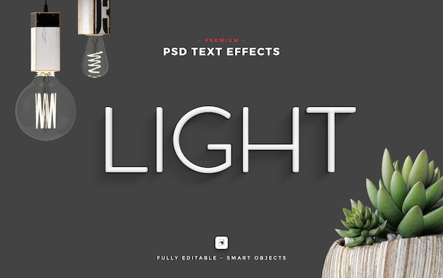 Light text effect mockup