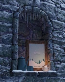 벽난로에 촛불으로 조명 된 프레임