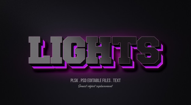 Lights 3d text style effect mockup