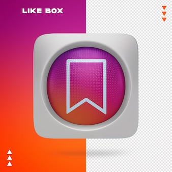 Like box of instagram in 3d rendering isolated