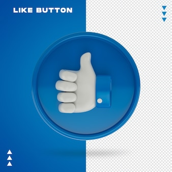 Like button cartoon in 3d rendering isolated