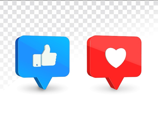 Like button and heart button 3d icons rendering