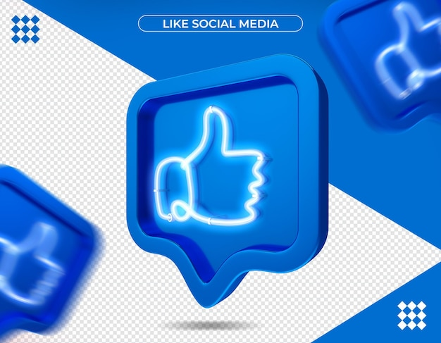 Like facebook in 3d rendering isolated