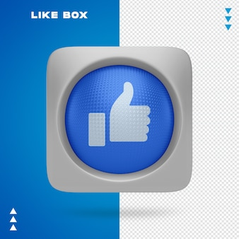 Like of facebook in box in 3d rendering isolated