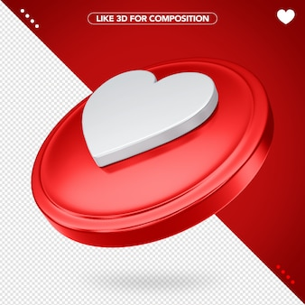 Like facebook red in 3d with heart