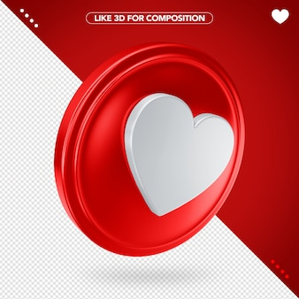 Like facebook red in 3d with white heart Premium Psd