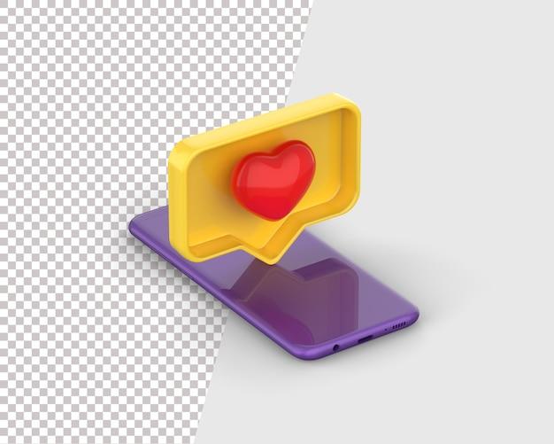 Like heart icon on a blue smartphone
