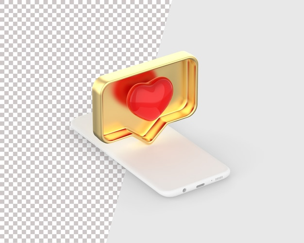 Like heart icon on a white smartphone