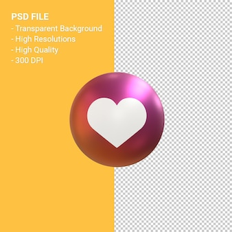 Like or love icon for instagram 3d balloon symbol rendering isolated