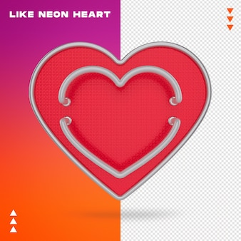 Like neon heart Premium Psd