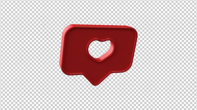 Like symbol on transparent background. 3d illustration.