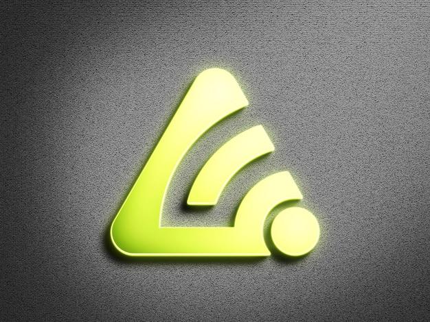 Lime green neon logo mockup