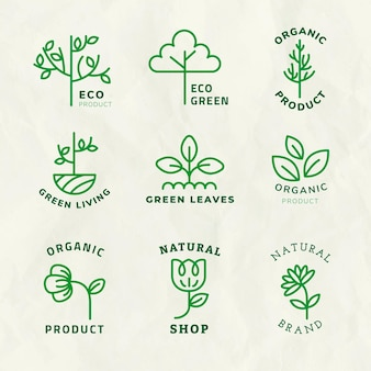Line eco logo template psd for branding with text set