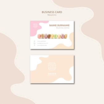 Line of macarons business card template