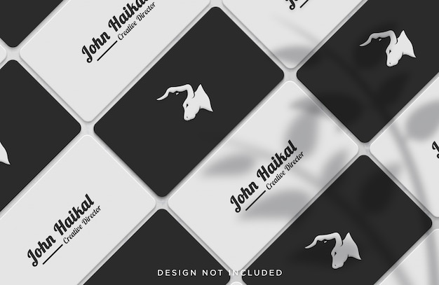 Lined up business card concept mockup