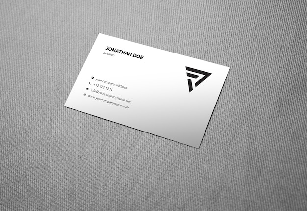 Linen fabric prespective businesscard mockup